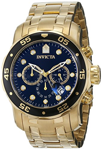 c2cb63b1d3e7 ... the Invicta Men s Pro Diver Collection Chronograph 18k Gold-Plated Watch  features a brushed and polished 18k gold-plated stainless steel case and a  band ...