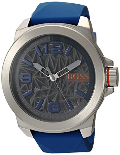 6bc459acf Gents Hugo Boss watch collection. Stainless steel case. Blue rubber strap.  Grey tone dial. Case size: 50 mm. Scratch resistant: mineral crystal.