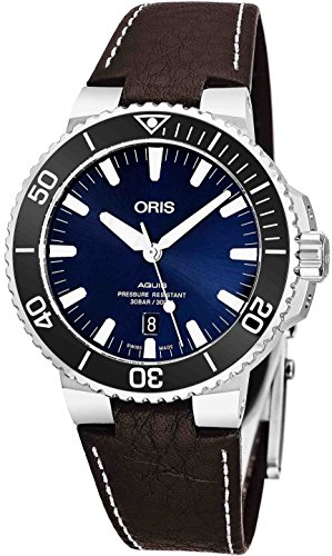 1b756cdf8 Oris Aquis Date Mens Stainless Steel Automatic Diver Watch Swiss Made –  43mm Analog Blue Face Sapphire Crystal Dive Watch – Brown Leather Band  Diving ...