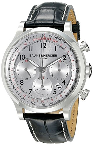 d58b55709ba Stainless steel case with black leather strap with crocodile design. Fixed  stainless steel bezel. Silver dial with silver-toned hands and Arabic  numeral ...